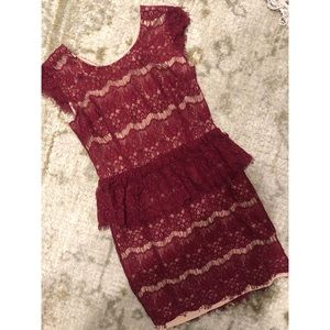 Nude and red lace dress